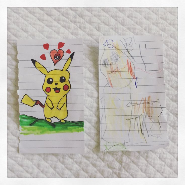 Pikachú lesson-Paper, colors and a 3 yrs. little brother (9yrs. old)