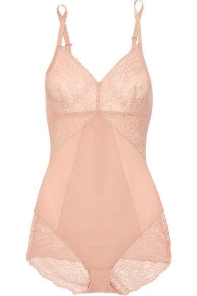 Spanx - Spotlight Lace-paneled Stretch-mesh Bodysuit - Blush - x large