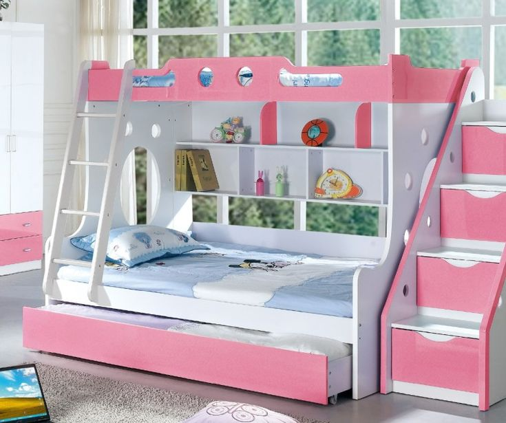 Pink And White Solid Wood Bunk Bed For Girl Bedroom With Trundle And Stair  Also Ladder