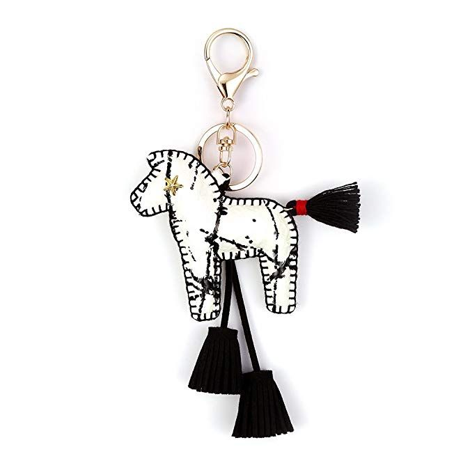 Handmade Leather Horse Keychain Women Fashion Charm Pendant Handbag Accessories