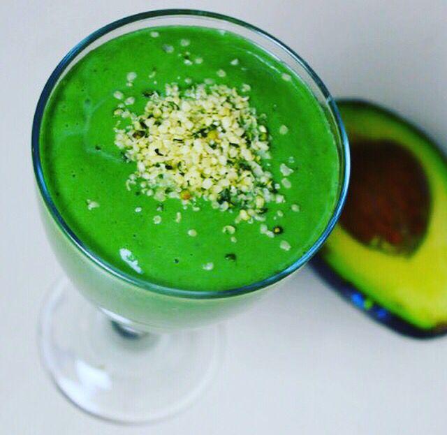 Super green hemp smoothie  1 x avocado 1 x frozen banana 1 cup homemade hemp milk 1/2 cup frozen mango 1 tbs hemp seed oil 1 tbs supergreens hemp seed protein