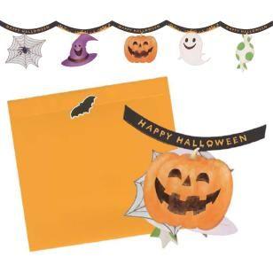 Halloween Garland Card Set,Craft Cards,Card,Halloween,spider web,pumpkin,Candy ,Pumpkin ,garland,hat,spider,Ghost