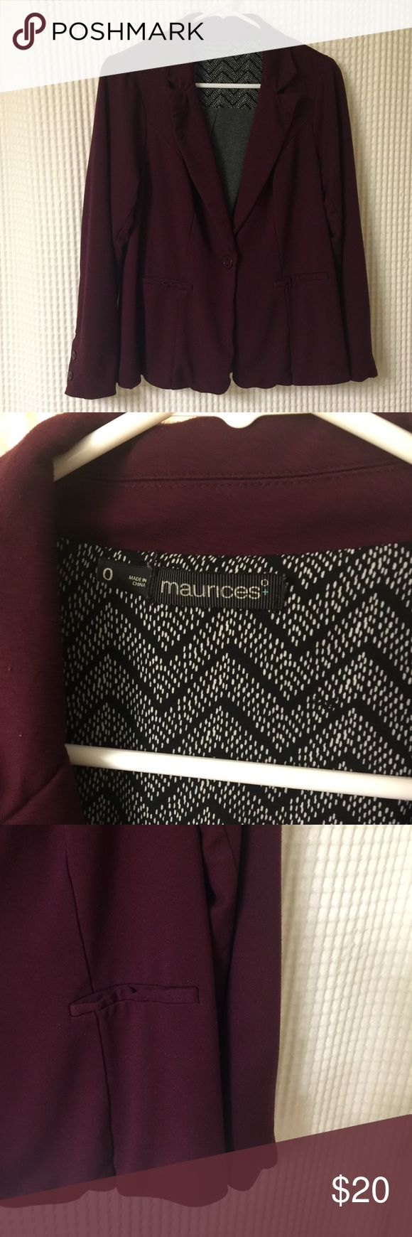 Maurice's Blazer/Jacket, Plus Size 0 Maurice's plus size jacket/Blazer, Maurice's plus size 0. Is a darker purple or eggplant color. Very soft fabric. Is in great condition and comes from a pet free/smoke free home. Maurices Jackets & Coats Blazers