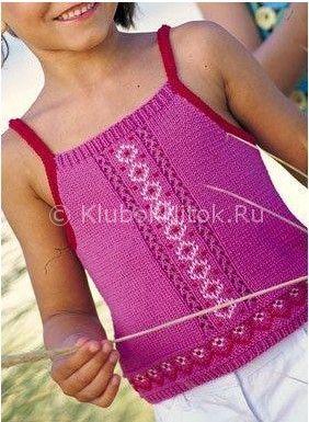 Малиновый топ для девочки | Вязание для девочек | Вязание спицами и крючком. Схемы вязания.