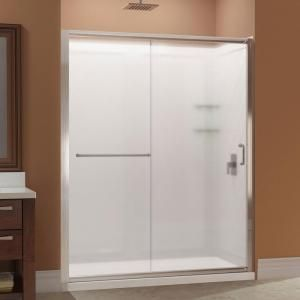 DreamLine Infinity-Z 32 in. x 60 in. x 76.75 in. Framed Sliding Shower Door in Brushed Nickel with Center Drain Base and BackWalls DL-6117C-04FR at The Home Depot - Mobile