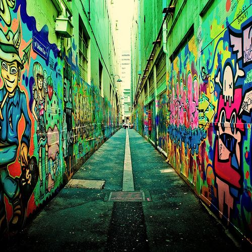 Australia / melbourne / city / urban / graffiti lane / color / street photography