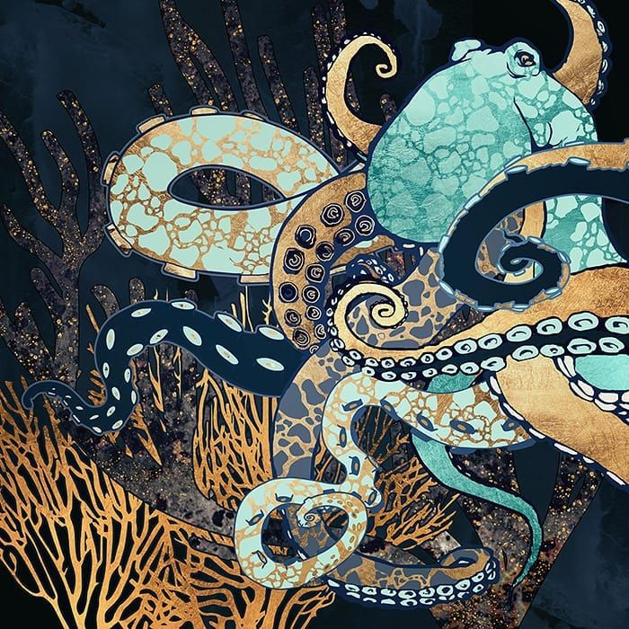 New The 10 Best Home Decor With Pictures Metallic Octopus Ii Octopus Marine Aquatic Ocean Coral Gold Blu Art Octopus Art Octopus Painting