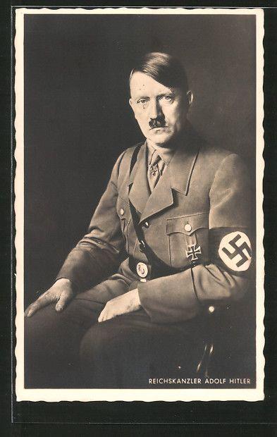 old postcard: AK Reichskanzler Adolf Hitler in Uniform sitzt auf einem Stuhl