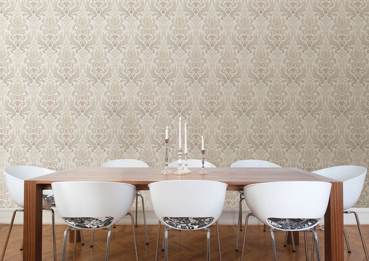 dining room decor idea damask wallpaper feature wall with modern white chairs