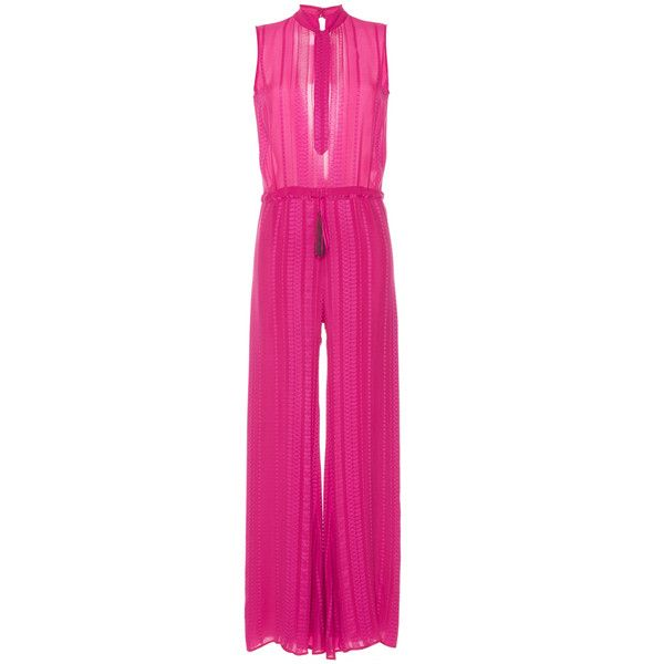 Zeus + Dione Amazons Sleeveless Jumpsuit (18 470 UAH) ❤ liked on Polyvore featuring jumpsuits, fuchsia, jump suit, sleeveless jumpsuit, pink jumpsuit and wide leg jumpsuit