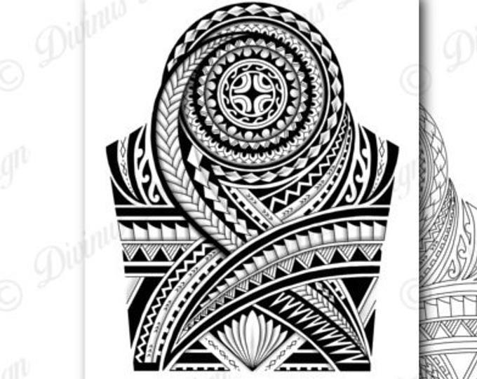 Half Sleeve Polynesian Tattoo Wrap Around Shoulder To Elbow Etsy Polynesian Tattoo Designs Quarter Sleeve Tattoos Polynesian Tattoo Sleeve