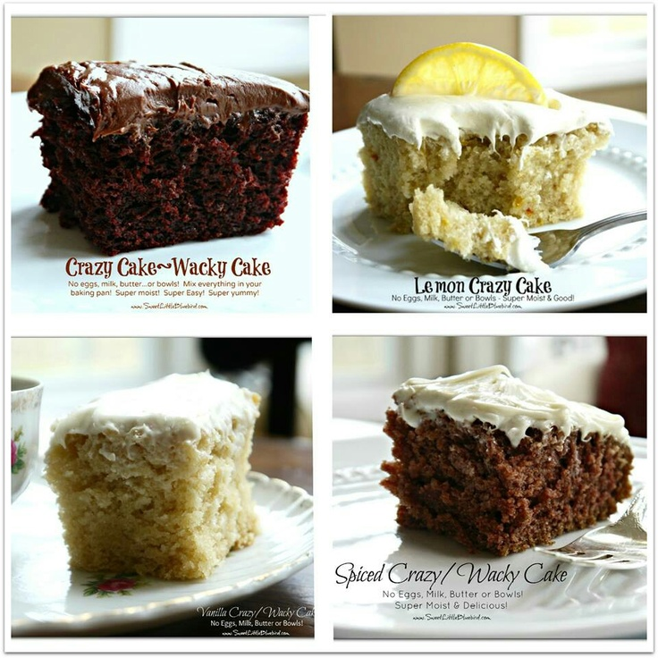 Crazy cake- Depression-era cake recipes without milk, butter, or eggs.
