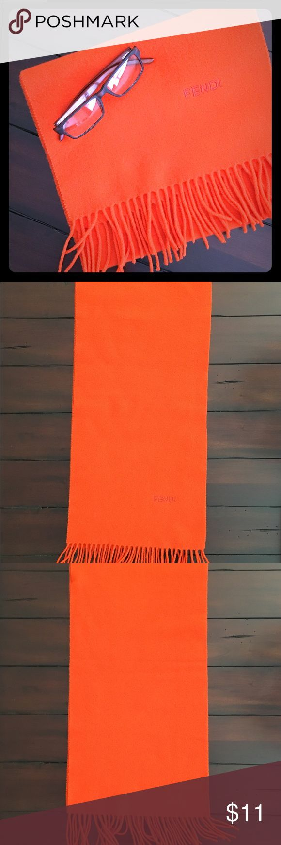Vintage Fendi Scarf 100% lamswool Vintage Fendi scarf. Has a tiny area of wear as indicated in photos. Vibrant orange color. If you need measurements, let me know. I'm just trying to get everything listed first. Willing to bundle with other items. Fendi Accessories Scarves & Wraps
