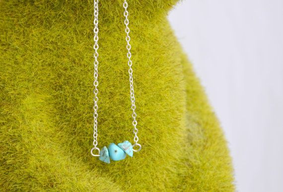 Turquoise Necklace Dainty Crystal Pendant Silver by IndigoLizard