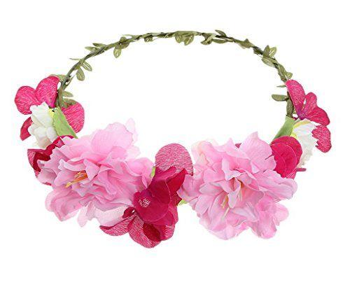 Bigood Blumenstirnband Kopfband Kranz Braut Brautjungfer Haarschmuck von Rosa MehrfarbigD