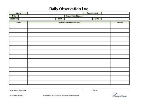 Image result for daily observation form | s | Sample resume