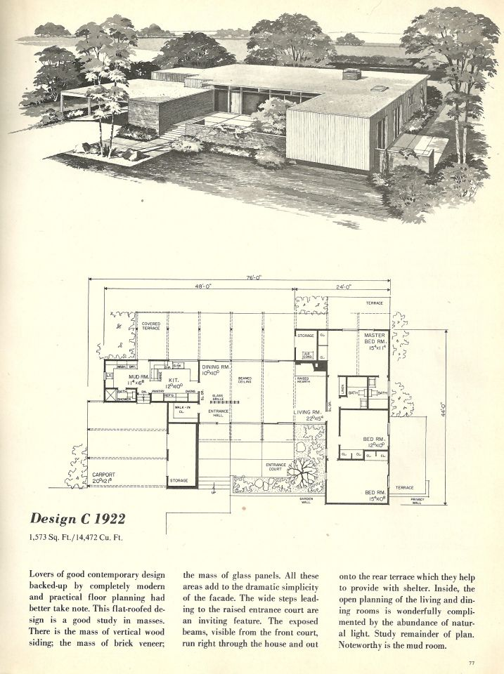 Beautiful Vintage House Plans, 1960s Homes, Mid Century Homes