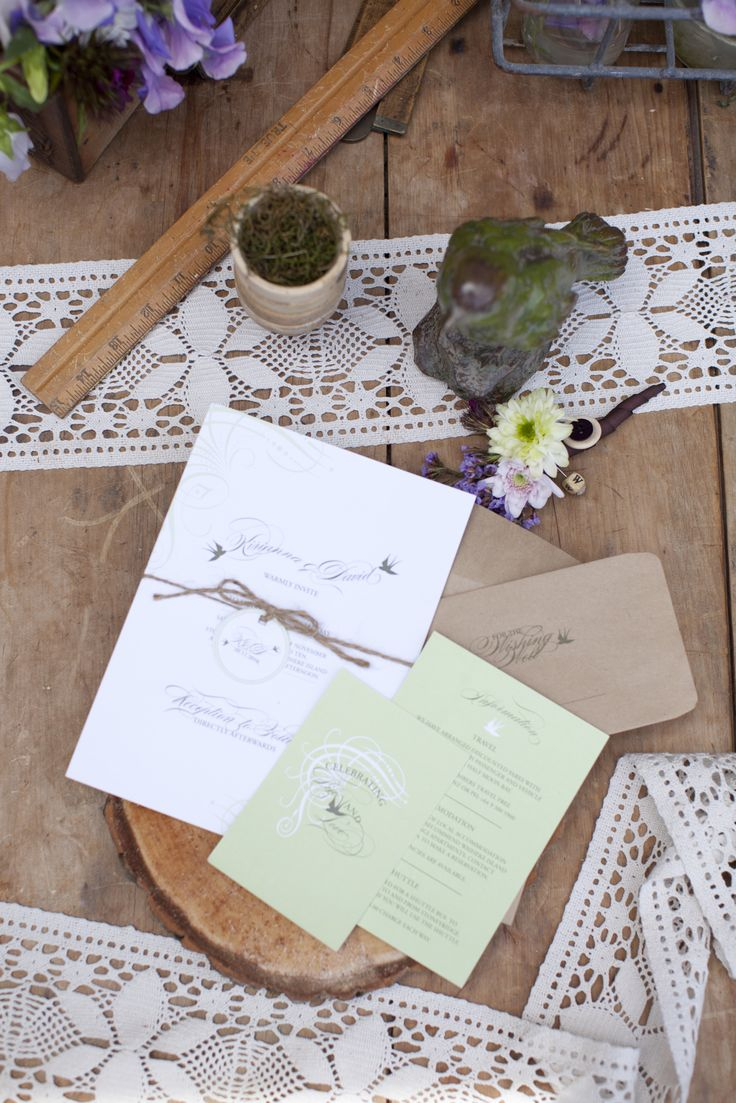 Look to the great outdoors for table-setting inspiration. Embellish stationery and tabletops with beloved symbols of nature, such as butterflies, birds and other playful woodland creatures. New Zealand Weddings Magazine, Spring 2013 issue. Photography by Jimena Murray.