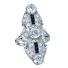 http://rubies.work/0807-multi-gemstone-earrings/ Diamond, Sapphire, and Platinum Ring