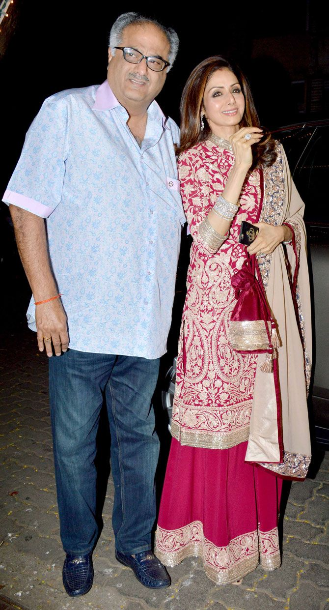 Sridevi and Boney Kapoor at #KarvaChauth celebrations at Anil Kapoor's residence. #Bollywood #Fashion #Style #Beauty #Hot #Desi #Ethnic
