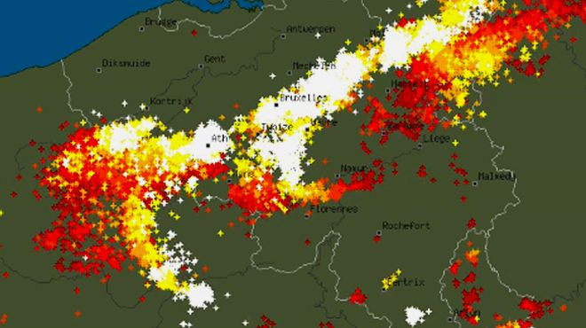 Violents orages: regardez comment les impacts de foudre se sont répandus hier sur notre pays (animation)