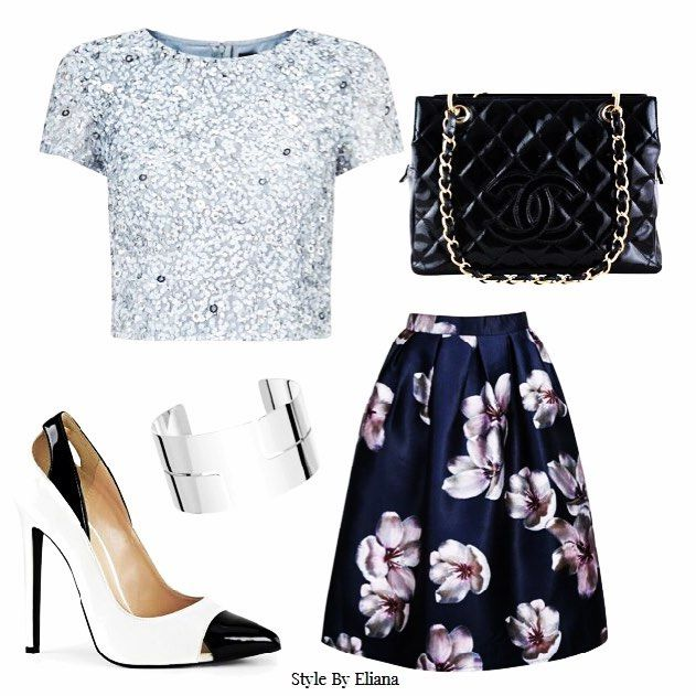 Thursday Look of the Week  Love this chic feminine look, so easy to replicate. This is perfect for an Inverted Triangle Body Shape as we are balancing the body with a beautiful Midi floral skirt. Also adding length in the body with these knock out heals!  #stylebyeliana #womenfashion #lookoftheweek #floral #metallic #trends #fashion #women #style #trendy #clothing #heels #lookbook #styleinsp #fashiontrend #fashioninsp