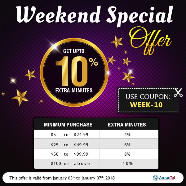 Welcome to Amantel special weekend offer with wonderful deals to all international calls. Save Upto 10% extra minutes while calling to globally. keep talking, do not break the New Year fun. No hidden fees and no taxes!!!  Coupon Code: WEEk-10  #InternationalCalling #AmantelCouponCode #SpecialWeekEndOffers