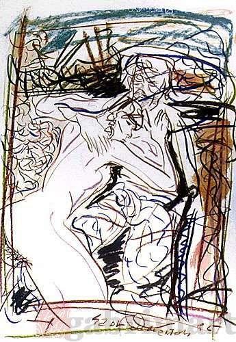 """""""Senza titolo"""" (al mare), pastelli su carta, 1985, cm 50×70"""