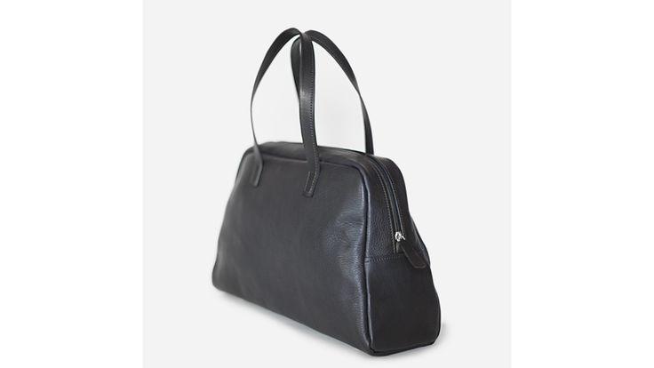 Elita Black Bowling Bag. Handmade in Italy.
