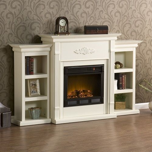 Free Standing Electric Fireplace Mantle Media TV Storage Stand Heater White #WildonHome #Traditional