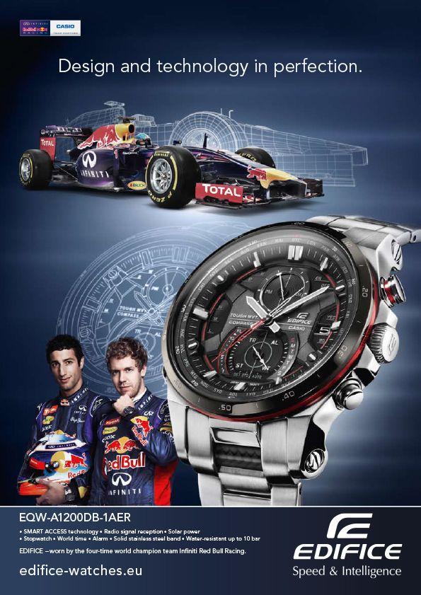 Az EDIFICE a Red Bull Racing csapat hivatalos partnere: a márka mind a dizájn, mind a műszaki megoldások terén inspirálja a profi autósport világát. Az órák rendkívül érzékeny stoppere akár tíz kör eredményeinek tárolására is képes, és közben jelzi a leggyorsabb kört is. A kijelzőn mindig az aktuálisan használt üzemmód látható, az időmérő szerkezet extravagáns és kifejező megjelenését pedig két további kijelző teszi teljessé.