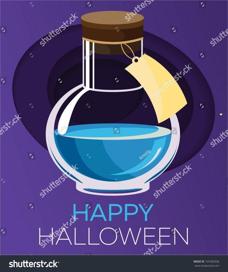 Blue magic potion. Halloween element