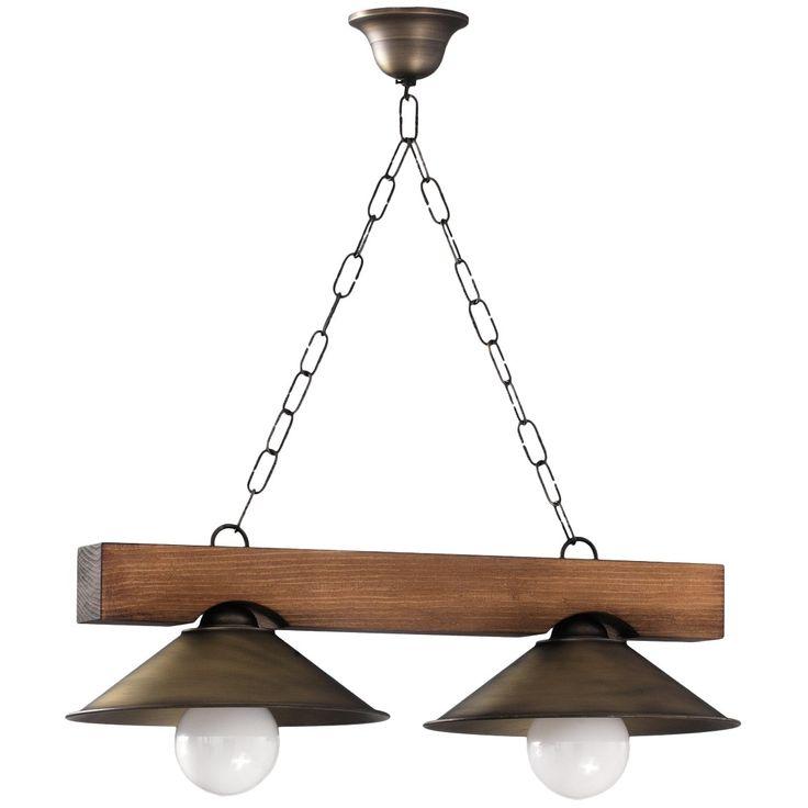 Lámpara de Techo Rústica Viga de Madera - 2 Luces