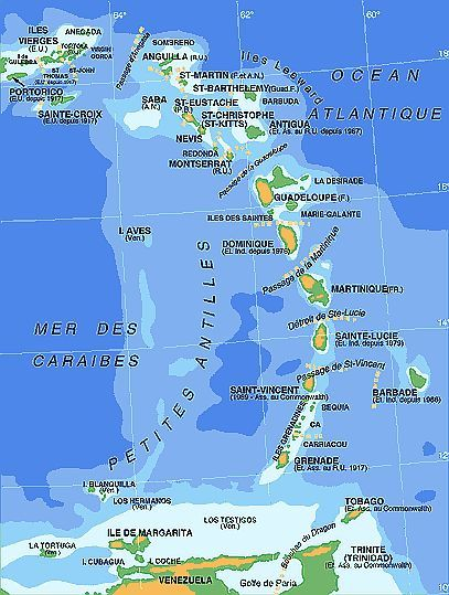 Map - French Antilles | West Indies in 2019 | West indies, Map, Voyage