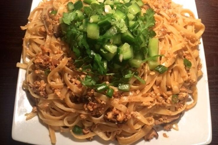 Spicy Garlic Noodles with Crumbled Tofu and Cucumber Salad  recipe on Food52