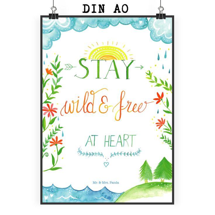 Poster DIN A0 Stay wild & free at heart aus Papier 160 Gramm  weiß - Das Original von Mr. & Mrs. Panda.  Jedes wunderschöne Poster aus dem Hause Mr. & Mrs. Panda ist mit Liebe handgezeichnet und entworfen. Wir liefern es sicher und schnell im Format DIN A0 zu dir nach Hause. Das Format ist 841 mm x 1189 mm.    Über unser Motiv Stay wild & free at heart  Erhalte dir die Entdeckerlust, bleib neugierig. Stürze dich in Abenteuer.     Verwendete Materialien  Es handelt sich um sehr hochwertiges…