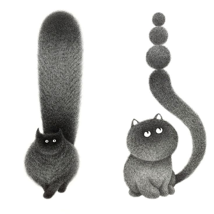 Delicate Inked Lines Form Fluffy Black Cats in Illustrations by Kamwei Fong
