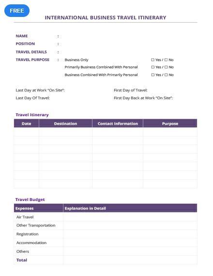 Free International Business Travel Itinerary Itinerary Templates