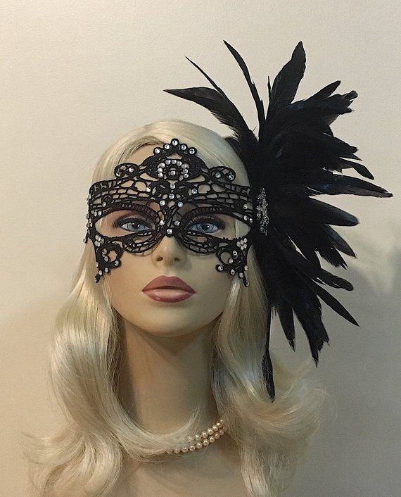 Rhinestone Mask Black Mask Lace Masquerade Mask with Feathers Mardi Gras Mask Masked Ball Women/'s Lace Mask Wedding Masquerade Masks