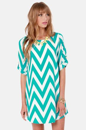 Teal Chevron Print Dress from LuLu's || Get 7% Cash Back - http://www.studentrate.com/itp/get-itp-student-deals/lulu-s-Student-Discount--/0