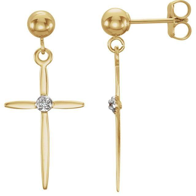 .01 CTW Diamond Cross Earring - 14K Yellow & White Gold