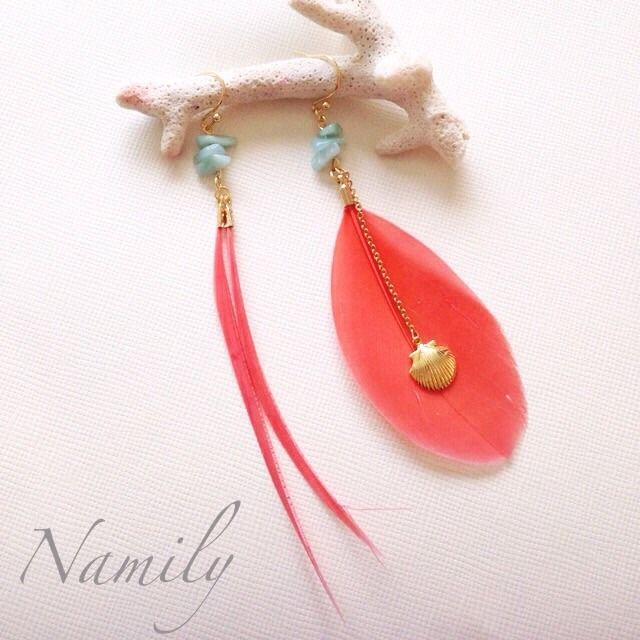 [NEW] Shell × Feather earring