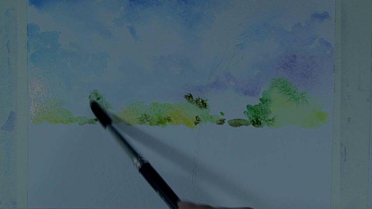 Как нарисовать поэтапно акварелью пейзаж. Ускоренный рисунок