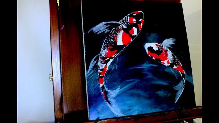 Painting Showa Koi Fish - Acrylic on wood panel - YouTube