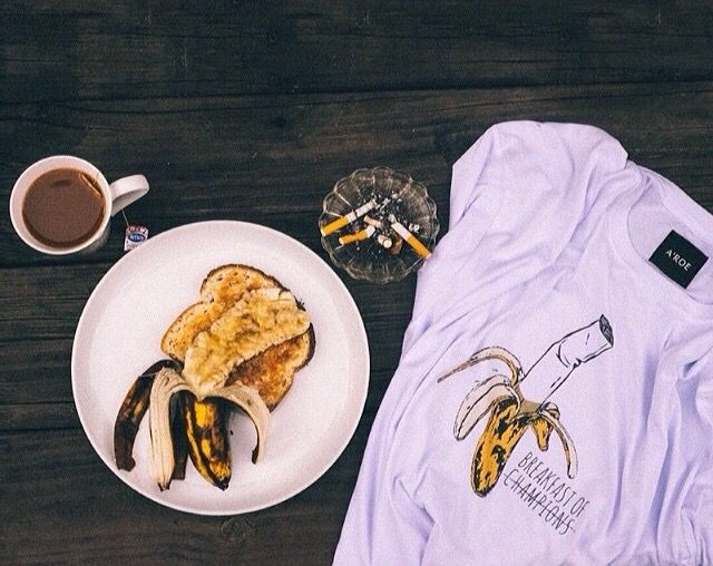 BREAKFAST IF CHAMPIONS UNISEX TEE organic cotton  avail on http://etsy.com/shop/aroethelabel