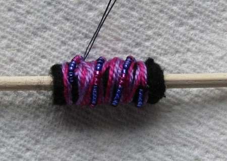 fiber art bead - tutorial/combine with paper beads?