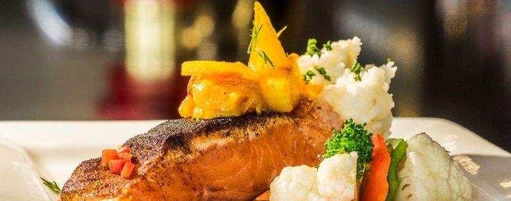 Blackened Atlantic Salmon with Mango Pineapple Chutney, New Brunswick  Canada