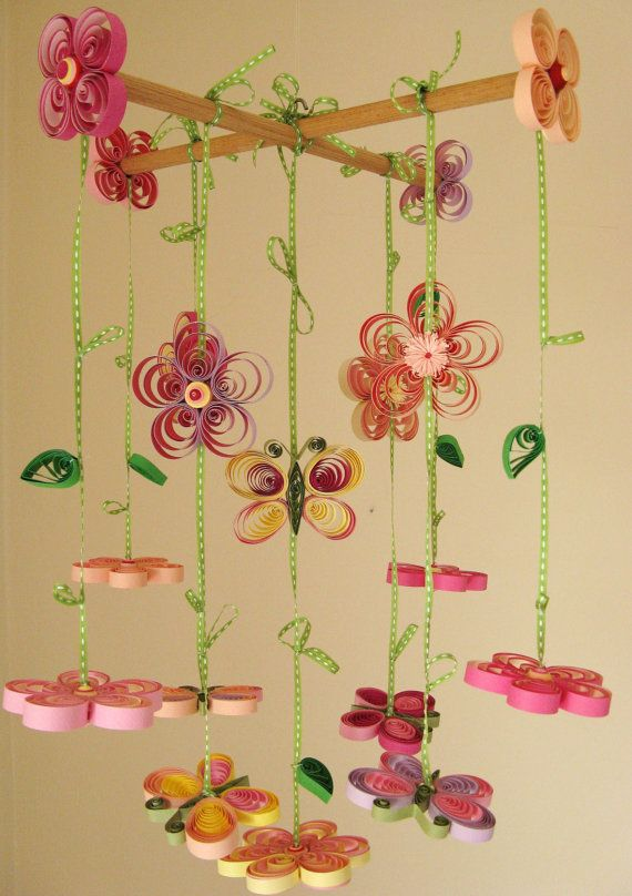 Baby Mobile  Butterfly Mobile  Girl Mobile  Quilled by tsipouritsa.