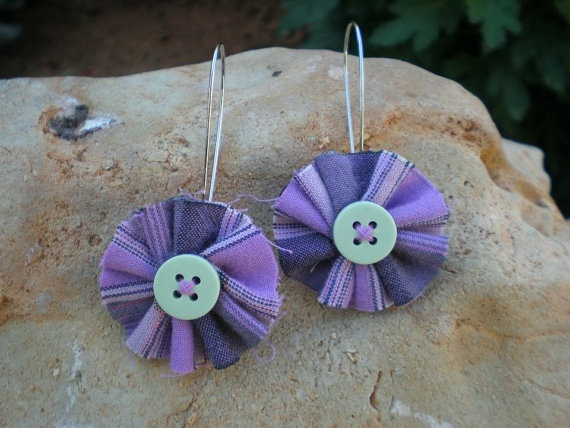Earrings made by fabric and button