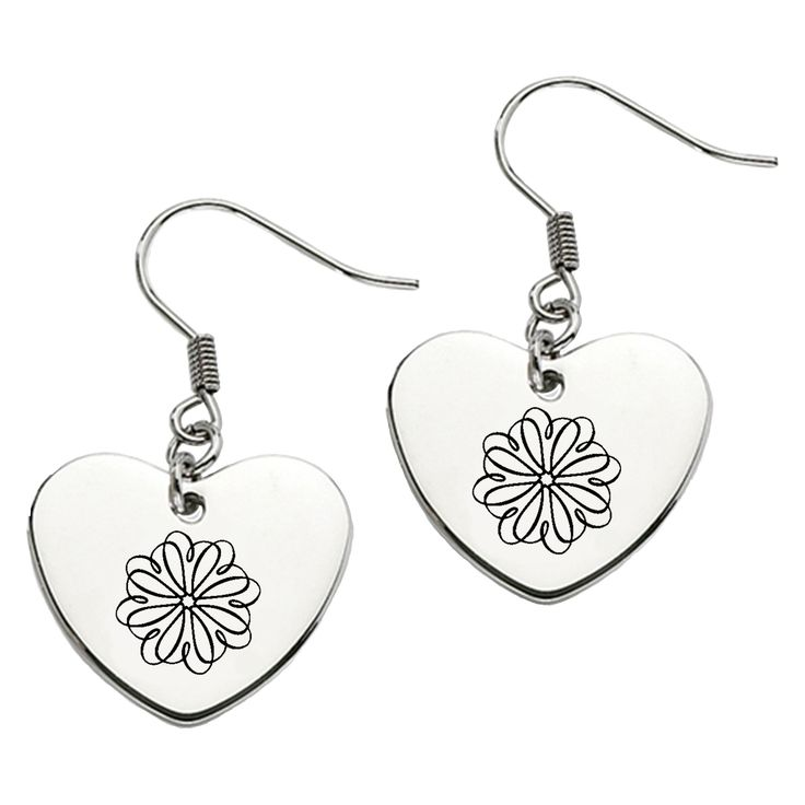 Sigma Kappa Symbol Heart Shape Drop Earrings